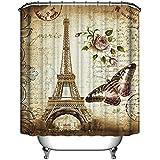 ANPI Cortina de Ducha Impermeable, Arte Digital Impreso Torre Eiffel de París del Vintage,