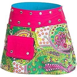 ufash Minifalda en Colores de Moda con Botones automáticos, Rosa