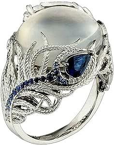 Chaofanjiancai Luxury Ring Unique Floral Moonstone Treasure Sapphire Diamond Wedding Band Rings