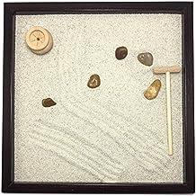 Jardín Zen de mesa 25 x 25 2 cm) de madera maciza wengué hecho artigianalmente