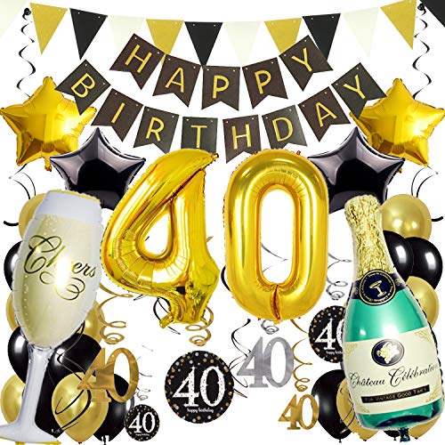 ZERODECO 40. Geburtstag Dekoration, Schwarz Gold Happy Birthday Banner 40. Nummer Goldfolien-Ballone Champagnerflaschen sternförmige Folienballon Hängende Strudel Dreieckige Wimpel Party Zubehör Set
