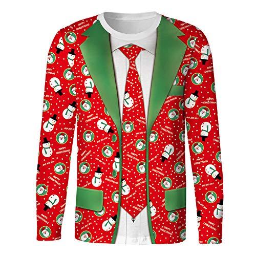 Preisvergleich Produktbild Sweatshirts 3D Print Herren Ugly Christmas T-Shirt Neck Pullover Freizeithemd, H