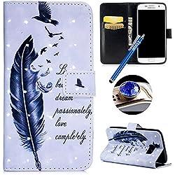 Etui Samsung Galaxy S7 Coque en PU,Etsue Pochette Portefeuille en Cuir Coque de Protection avec Fonction Stand Housse Fermeture Magnetique etui Rabat avec 3D effet Motif Coloré Fleur Flamingo.