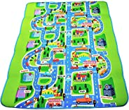 Kids Activity Creeping Play Mat, Baby Learning Decor Rug with Road Traffic, Infants Educational Car Carpet wit