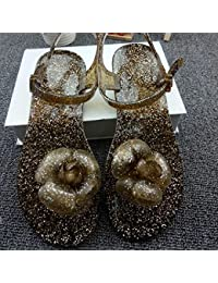 Sandalias, los dedos de los pies, pies, flores planas, jaleas, zapatillas, estudiantes han Banchao,39 caqui