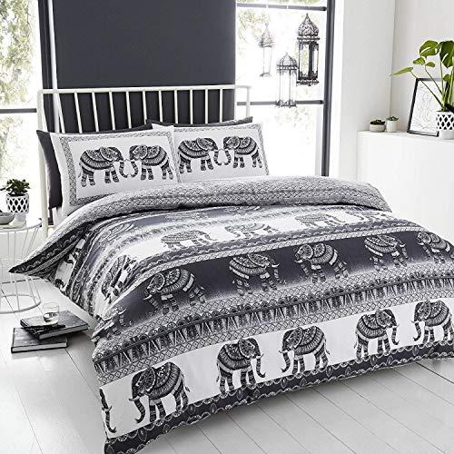 Happy Linen Co Bettwäsche-Set mit kunstvollen Elefanten, indisches ethnisches Muster, Wende-Bettbezug, Baumwollmischung, anthrazit, King Size