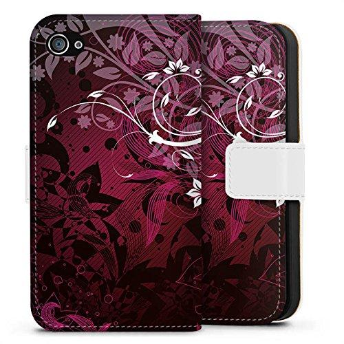 Apple iPhone X Silikon Hülle Case Schutzhülle Blumen Floral Ranken Sideflip Tasche weiß