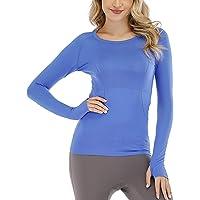 QUMOS Women Gym Sports Shirt Top Long Sleeve Lightweight Yoga Running with Thumb Hole Quick-Dry T-Shirt Tops Workout…