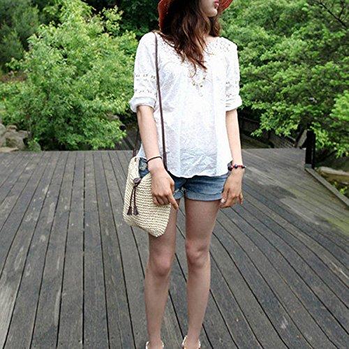 Hrph Nuovo Stile Di Moda Borsa A Tracolla Intrecciata Paglia-estate-donne Tessono Tracolla Borsa Spiaggia Bianca