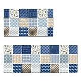 JU Teppich-Lange Küchen-Matten/Anti-Skid Pads Wasserdicht und Anti-Öl feuerfeste Matten Stripes Matten,80 * 45 cm + 120 * 45 cm