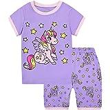 Pijamas Dos Piezas para Niña de Verano de Manga Corta 100% Algodón, Precioso Regalos de Pascua para Niña, Ropa de Dormir para
