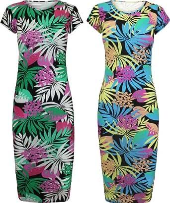 AXTokyo Ladies Midi Tunic Dress Tropical Hawaiian Print Summer Dresses UK 8 - 14