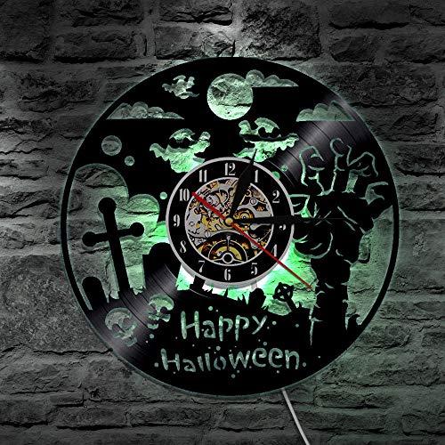 Mcolk Wanduhr Vinyl Led Wanduhr Modernes Design Vinyl Cd Rekord Wand Mit Hintergrundbeleuchtung Happy Halloween Uhren Art Home Decor Silent 12 Zoll (Halloween Dekoration London)