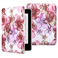 MoKo Case for Kindle Paperwhite - The Thinnest and Lightest Premium PU Leather Cover with Auto Sleep/Wake for Amazon Kindle Paperwhite (Fits All 2012, 2013, 2015 and 2016 Versions), Floral Purple