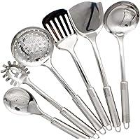 Abcsea 6 Pièces Accessoires Set de Cuisine, Cuillères de Cuisine, Spatules Cuisine INOX, Ustensiles de Cuisine INOX…
