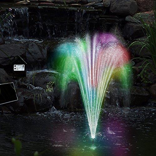 Deuba Teichpumpe Springbrunnen Solar Panel LED mit Akku inkl. Fernbedienung 4 Fontänen Aufsätze Garten Brunnen Solarpumpe
