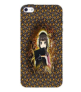 PrintDhaba Music Girl D-3412 Back Case Cover for APPLE IPHONE 5 (Multi-Coloured)