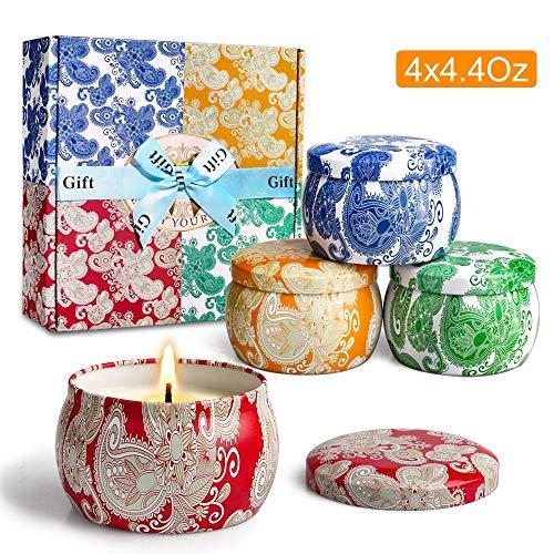 Yinuo Mirror Duftkerzen Geschenk-Set, 4 Pack SojaWachs-Kerze, 4 * 4.4 Oz, Aromatherapie, Bad, Yoga, perfekt für Weihnachten, Geburtstag, Muttertag, Valentinstag