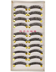 Generic Synthetic Fiber Beauty Makeup Handmade Natural Long False Eyelashes, 10 Pairs (Black)