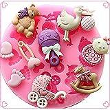 preadvisor (TM) populares 1PCS Baby Shower molde de silicona Fondant Cake Mold Chocolate Molde para Decor