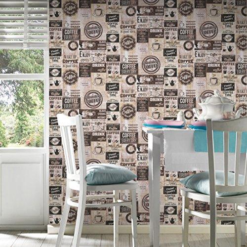 Papier Küchen Tapete Kaffe Coffee Cafe creme beige braun 33480-3 ...