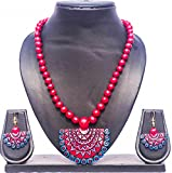 #4: Pentacrafts Terracotta Art designed Women Girl Necklace Set, Color: Cadmium Red & Celtic Blue