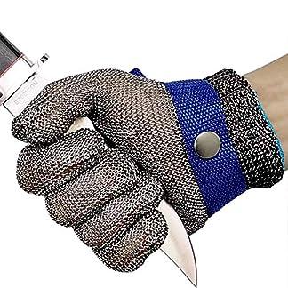 OKAWADACH Guantes Anticorte Seguridad Corte prueba pu?alada resistente acero inoxidable de malla metš¢lica carnicero guante de color azul talla M nivel 5