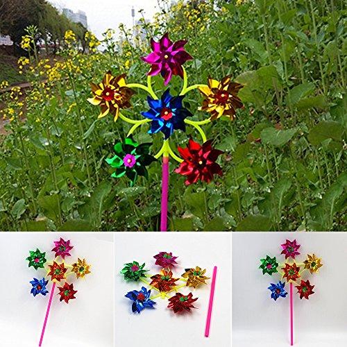 EMVANV 6Rad mit Kunststoff Sequins Windmühle Whirligig Wind Spinner Spielzeug für Hof, Garten-Dekor DIY