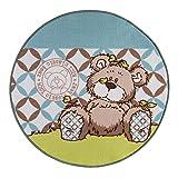 Kinderteppich Nici Lovely Bear grün - Rund, Größe:100x100cm