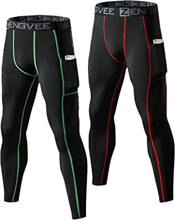 HUAKANG 2 Pack 3/4 Compression Tights Men Cool Dry Running Base Layer with Pockets Sport Leggings