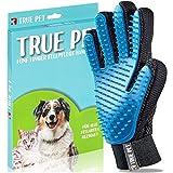 TRUE PET - Fellpflegehandschuh für Hund, Katze & Hase - Enthaaren, Baden & Massieren | Fellbürste für sensible Haut | Hundebürste & Katzenbürste für Mittel- & Kurzhaar | Fellkamm Striegel