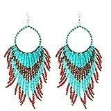 Tribal Dangle Fringe Tassel Perle & Hoop Boucles d'Oreilles Style Amérindien par Pashal (Turquoise w / Red Fringe)
