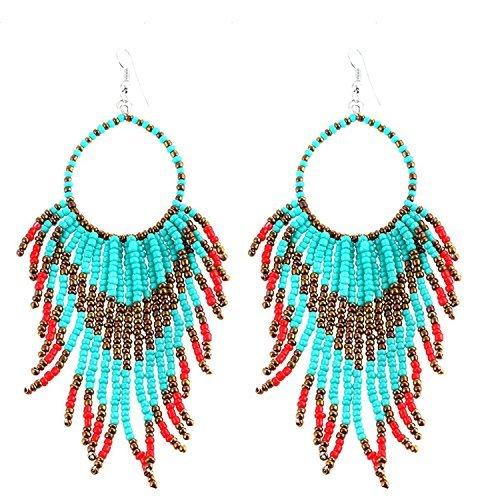 Nativen Fringe (Tribal Dangle Fringe Quaste Perle & Hoop Ohrringe Native American Style von Pashal (Türkis mit Red Fringe))