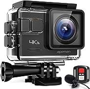 APEMAN 【Aggiornato】 4K 20MP Action Cam WiFi con Microfono Esterno Subacquea 40M con Telecomando EIS Stabilizzazione Videocame