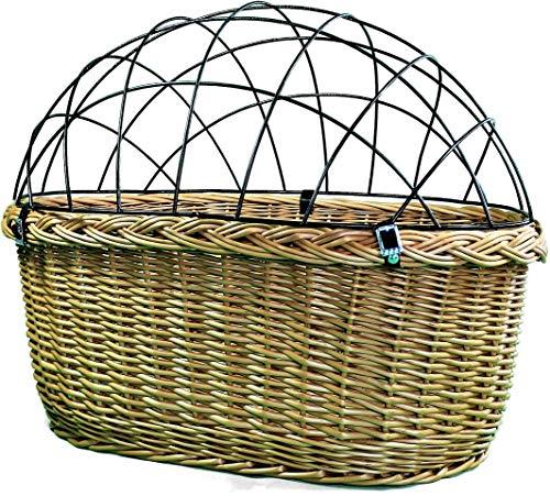 Alpenfell Fahrradkorb vorne 2 in 1 - Oval Hundekorb Hundefahrradkorb Weidenkorb Bastkorb Fahrrad Korb geflochten Groß - 57 x 41 x 44cm -