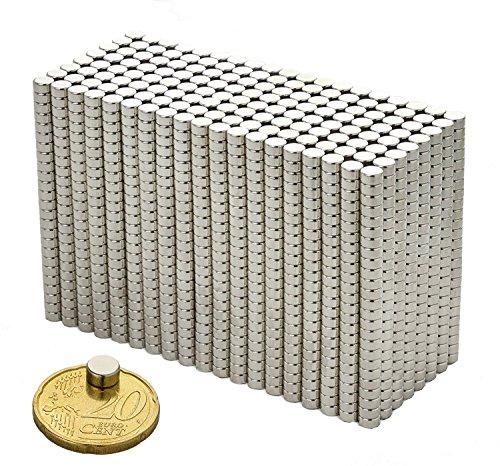 M&H-24 20 Mini Neodym Magnete Extra Stark N45 - für Magnettafel Kühlschrank Whiteboard - Power-Magnet Set 6x3mm -
