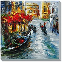 AONBAT Venecia Pinturas al óleo de Arte Moderno Arte de Lienzo de Pared Pintura al óleo sobre lienzo de pared Decoración del hogar lista para colgar ilustraciones abstractas pintadas a mano