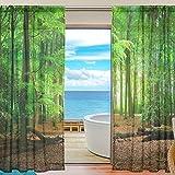 Sheer Voile Fenster Vorhang Tropical Wald Bäume grün Blattmuster Print Polyester Material Stoff für Schlafzimmer Decor Home Tür Deko Küche Wohnzimmer 2Felder 198,1x 139,7cm