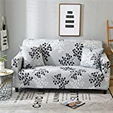 HOTNIU 1-Piece Fit Stretch Sofa Couch Covers - Lightweight Easy-Going with Elastic Bottom Sofa Slipcovers - Polyester Spandex Printed Furniture Protector with Anti-Slip Foam