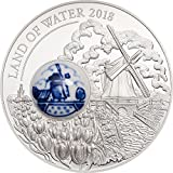 LAND OF WATER Terra Acque Mulino Royal Delft Moneta Argento 10$ Cook Islands 2018