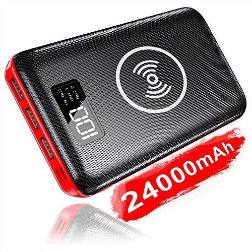 KEDRON Externer Akku 24000mAh Wireless Powerbank, 2 in 1 Kabellose Power Bank mit 2 Eingänge & 3 Ausgänge hohe Kapazität Tragbares Ladegerät für Das Smartphones