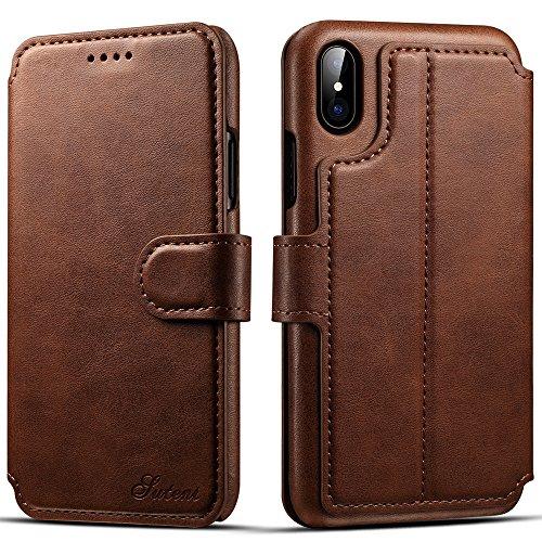 iPhone X Case Hülle Kunst Leder Brieftasche mit Kredit Karten Fach Geldscheinfach Premium Börse Tasche Handy Schutzhülle,Rot Braun