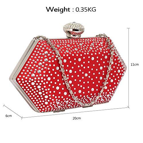 TrendStar Frau Entwerfer hart Fall Kristall Abend Kupplungs Tasche Damen Hochzeit Handtasche Rot