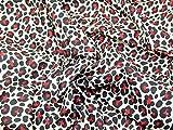Jaguar Animal Print vestido de polialgodón tela rojo–por metro