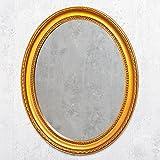 LEBENSwohnART Spiegel Nerina 50x40cm Gold-antik oval Barockspiegel Holzrahmen Wandspiegel