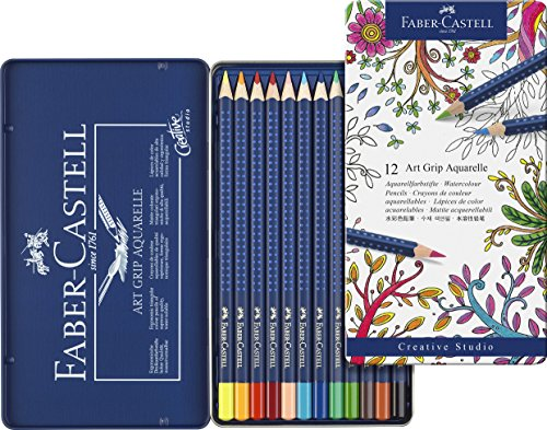 Faber-Castell 114212 – Estuche de metal con 12 ecolápices triangulares acuarelables Art Grip, lápices para adultos