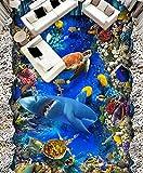 Kuamai 3d-Bodenfliesen Bild in Bild pvc Selbstklebend Tapeten die Unterwasserwelt Wallpaper 3D Wandbild Boden 120X100CM