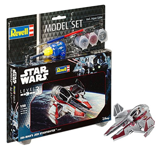 Revell Modellbausatz Star Wars Obi Wan\'s Jedi Starfighter im Maßstab 1:58, Level 3, originalgetreue Nachbildung mit vielen Details, Model Set mit Basiszubehör, einfaches Kleben und Bemalen, 63607