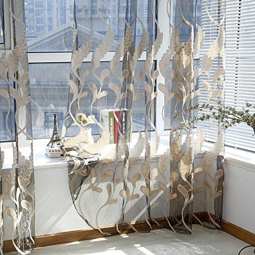 Yoyoug, tenda per finestra alla moda, design trasparente con motivo a spighe di grano, in voile, in tessuto liscio, morbido e confortevole, decorazione per casa, coffee, taglia unica