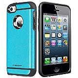 iPhone 5 Funda, iPhone 5S Funda, Pegoo A Prueba de golpes, Anti-Arañazos y Polvo, Mezcla Doble Capa Armadura Proteccion Caso Funda Cáscara Caja para iPhone 5 5S SE (Azul)